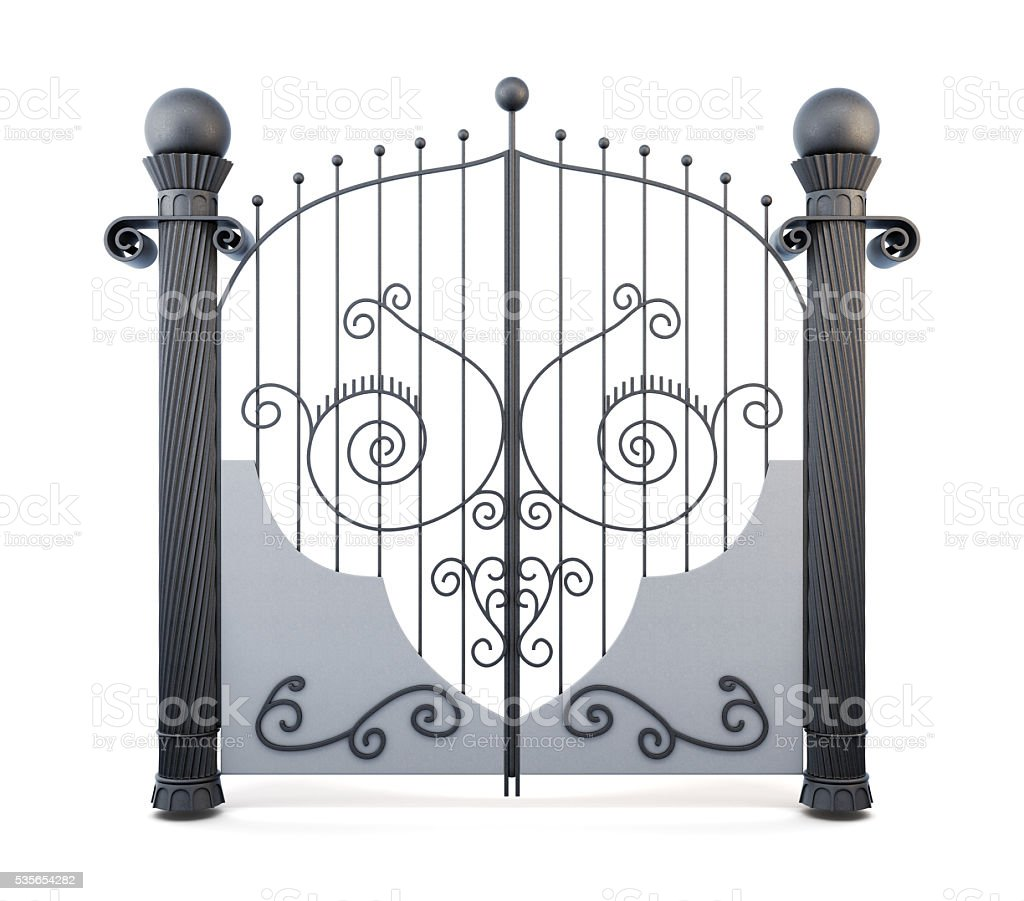 Metal wrought iron gate on a white background. 3d rendering stock photo