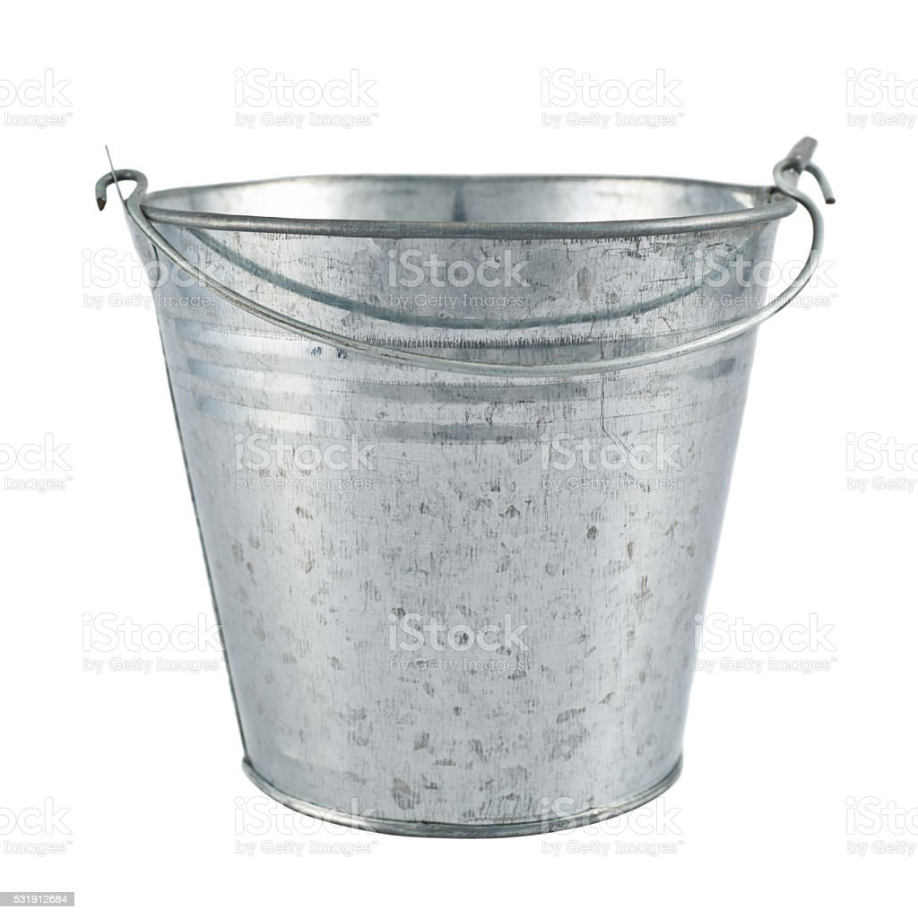 Metal zinc bucket isolated stock photo