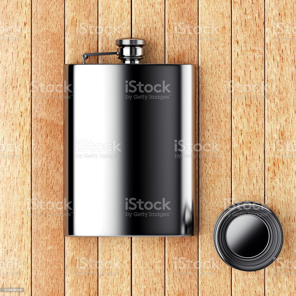 Metall hip flask with cup stock photo