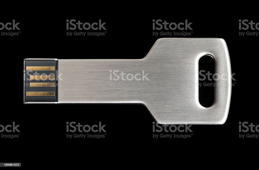 Metall USB Key Stick on black background stock photo