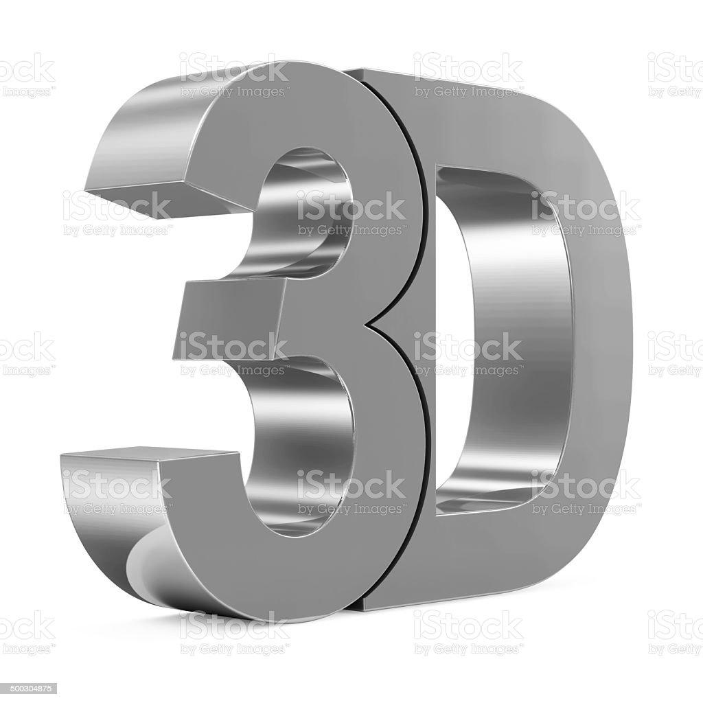 Metallic 3d Word isolated on white background stock photo
