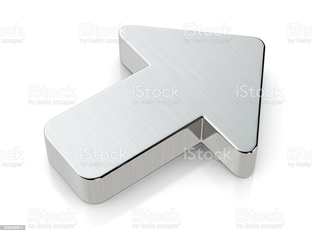 Metallic arrow symbol stock photo