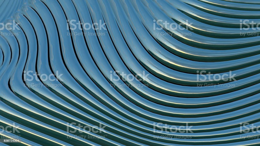 Metallic bands waving. Abstract technology stock photo