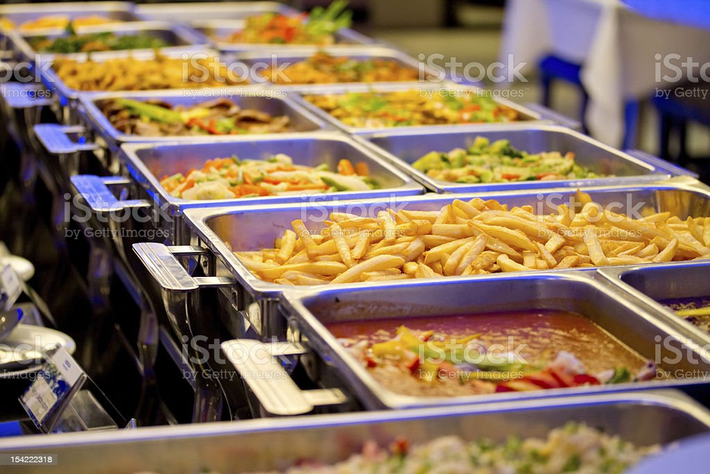 Metallic Banquet Buffet Meal Trays stock photo
