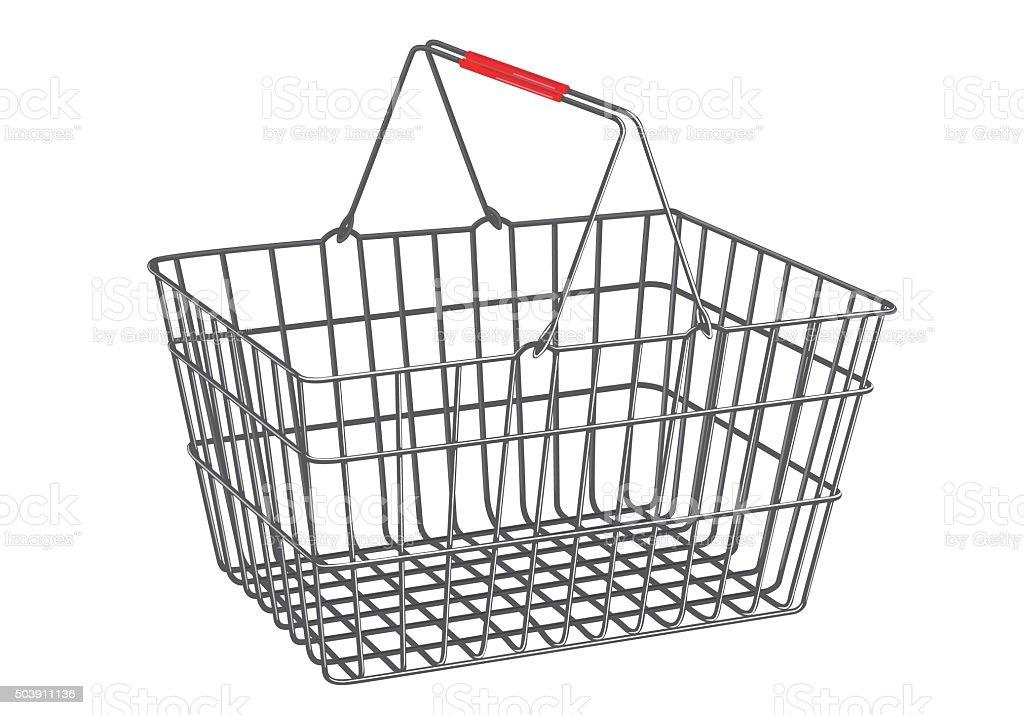 Metallic basket on isolated white background stock photo