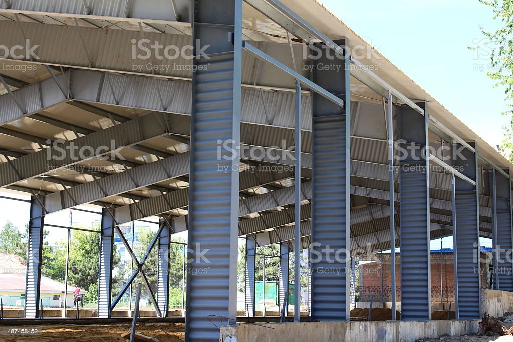 Metallic beams and columns of the roof stock photo