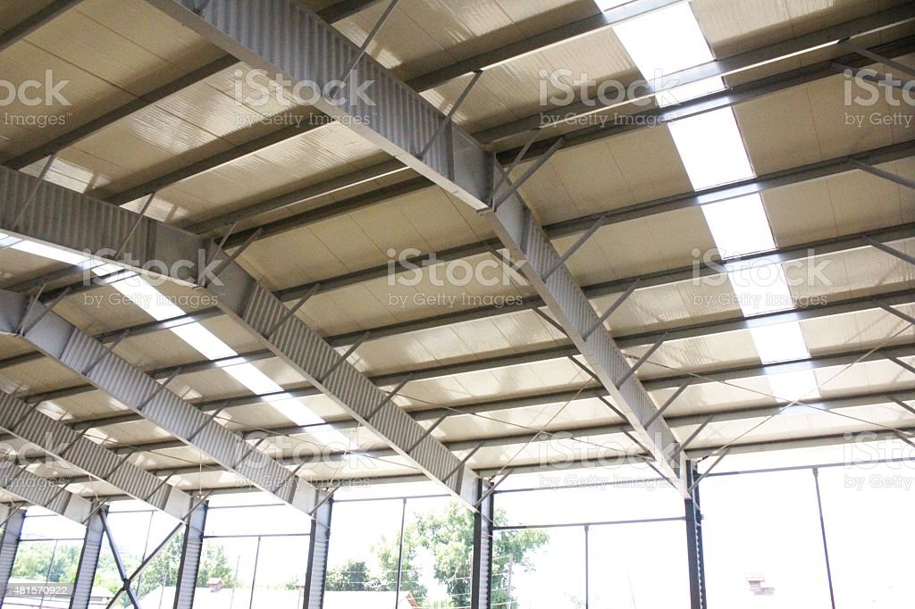 Metallic beams of the roof stock photo