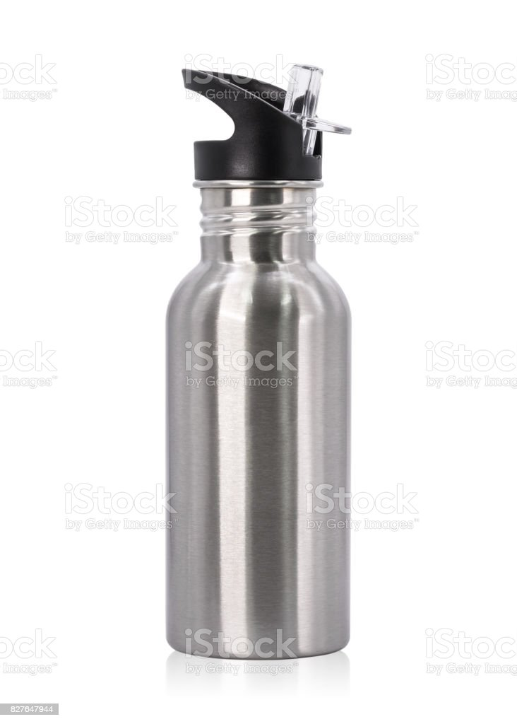 Metallic bottle and plastic tube isolated on white background. Template of empty water bottle for keep temperature. Clipping paths object stock photo