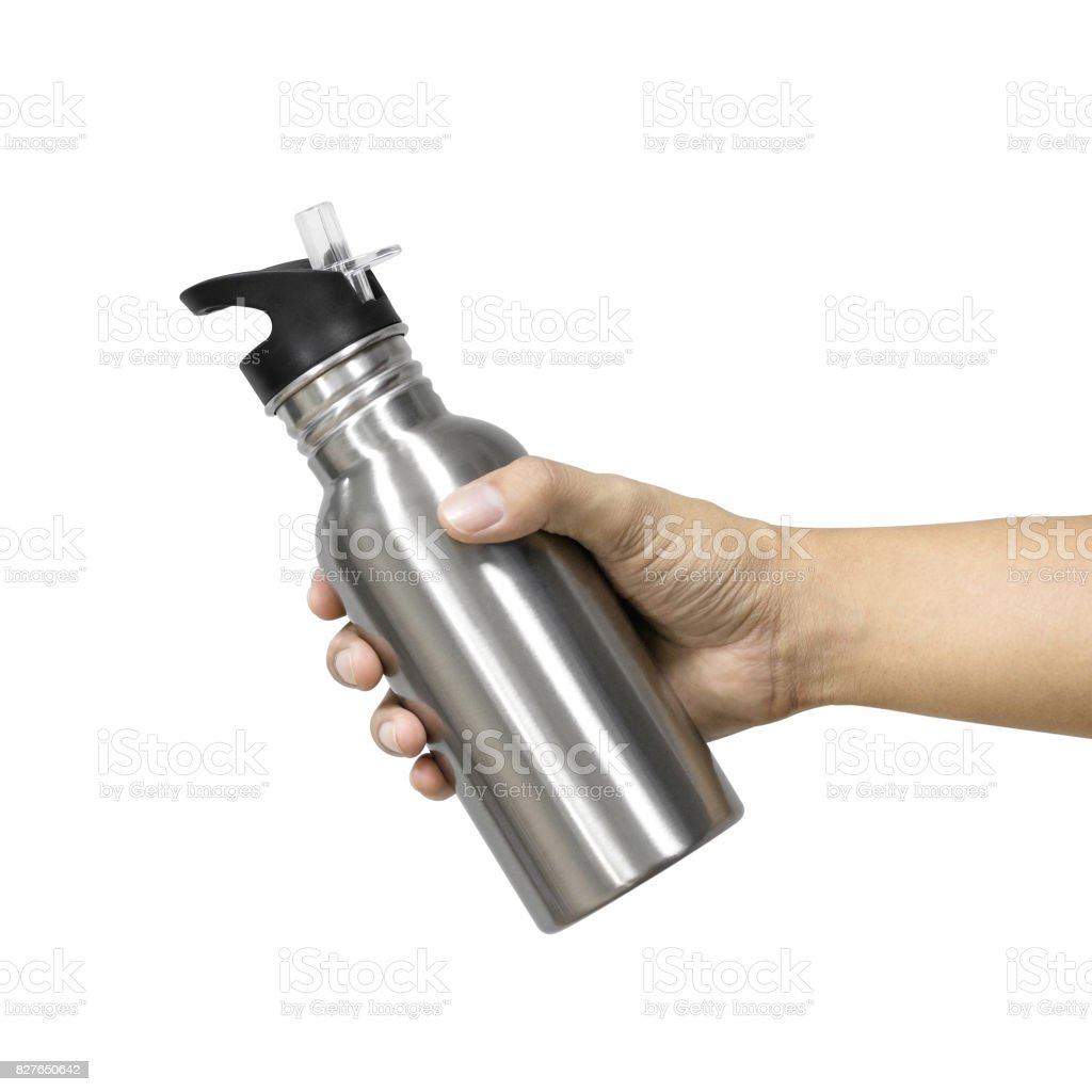 Metallic bottle and plastic tube isolated on white background. Template of empty water bottle for keep temperature. Hand holding or showing product. Clipping paths object. stock photo