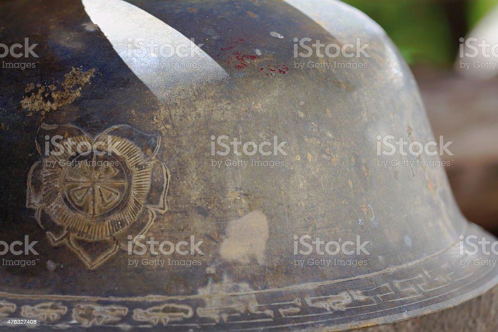 Metallic bowl upside down. Drak Yerpa-Tibet. 1510 stock photo