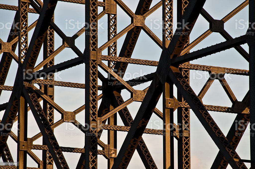 Metallic bridge structure detail with sky as background royalty-free stock photo