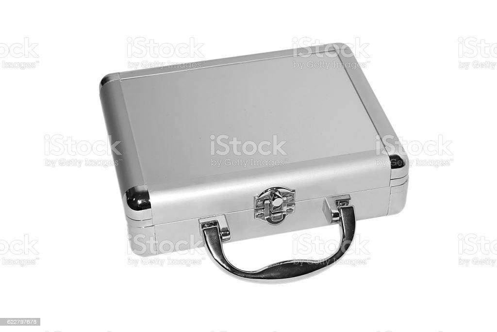 Metallic briefcase stock photo