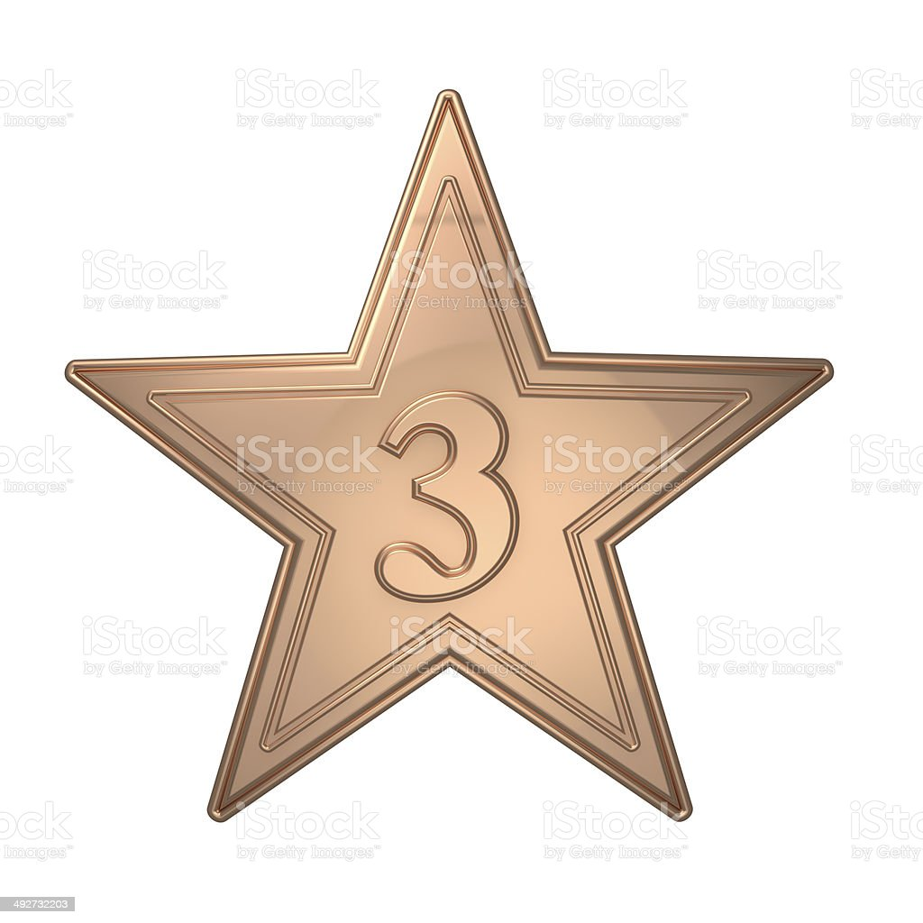 Metallic Bronze Star Third Place Number 3 royalty-free stock photo