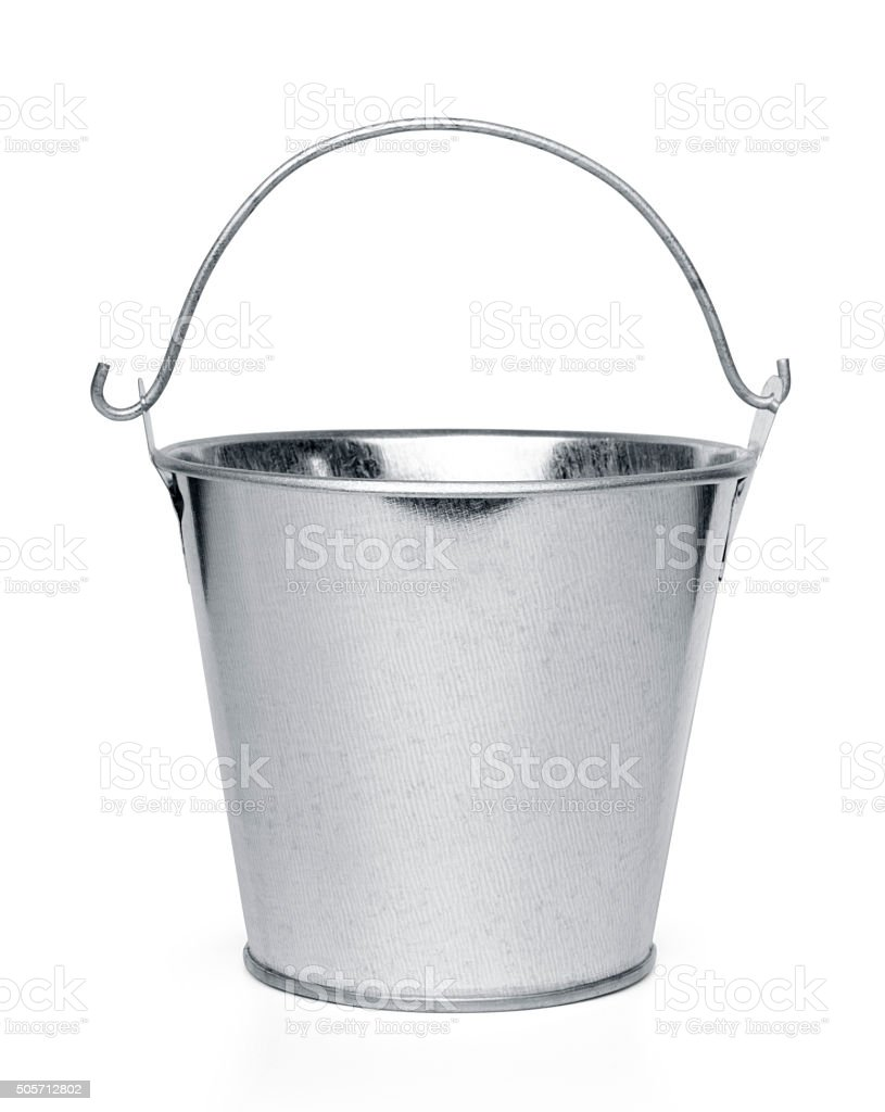 Metallic bucket isolated stock photo