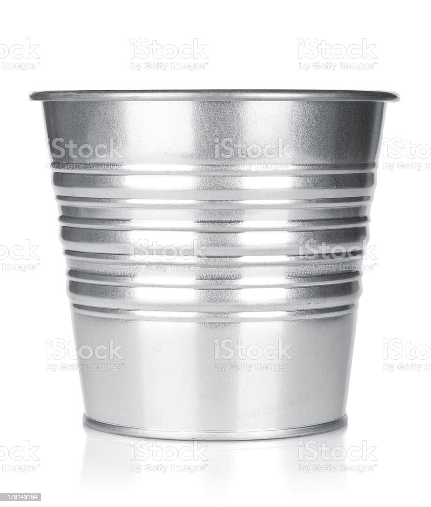Metallic bucket stock photo