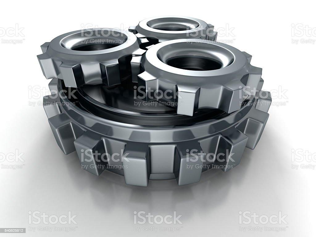 Metallic Cogwheel Gears Icon On White Background stock photo