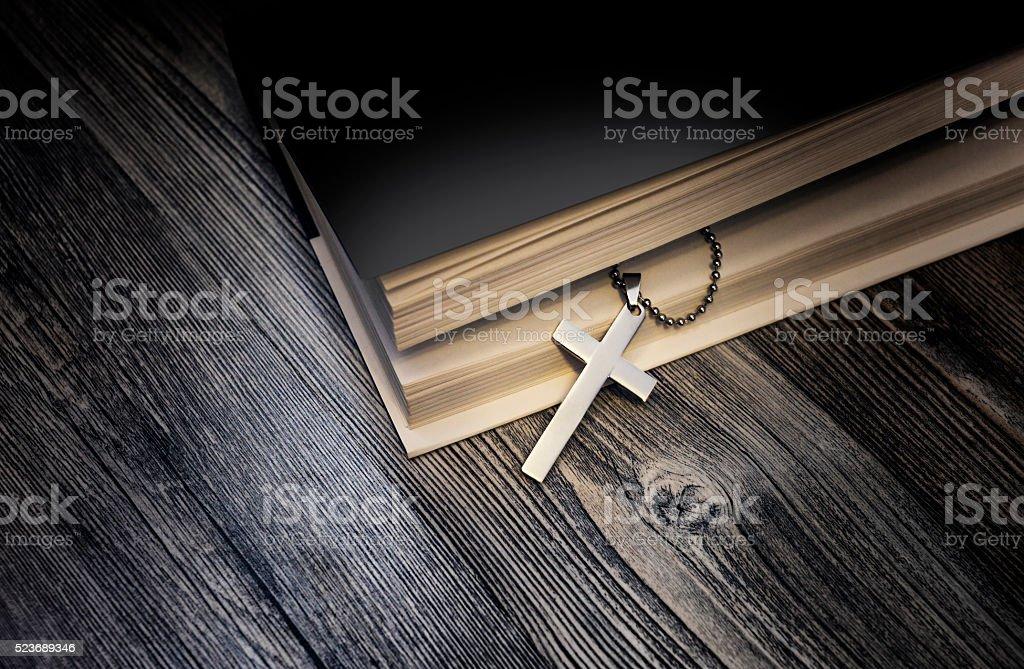Metallic cross stock photo