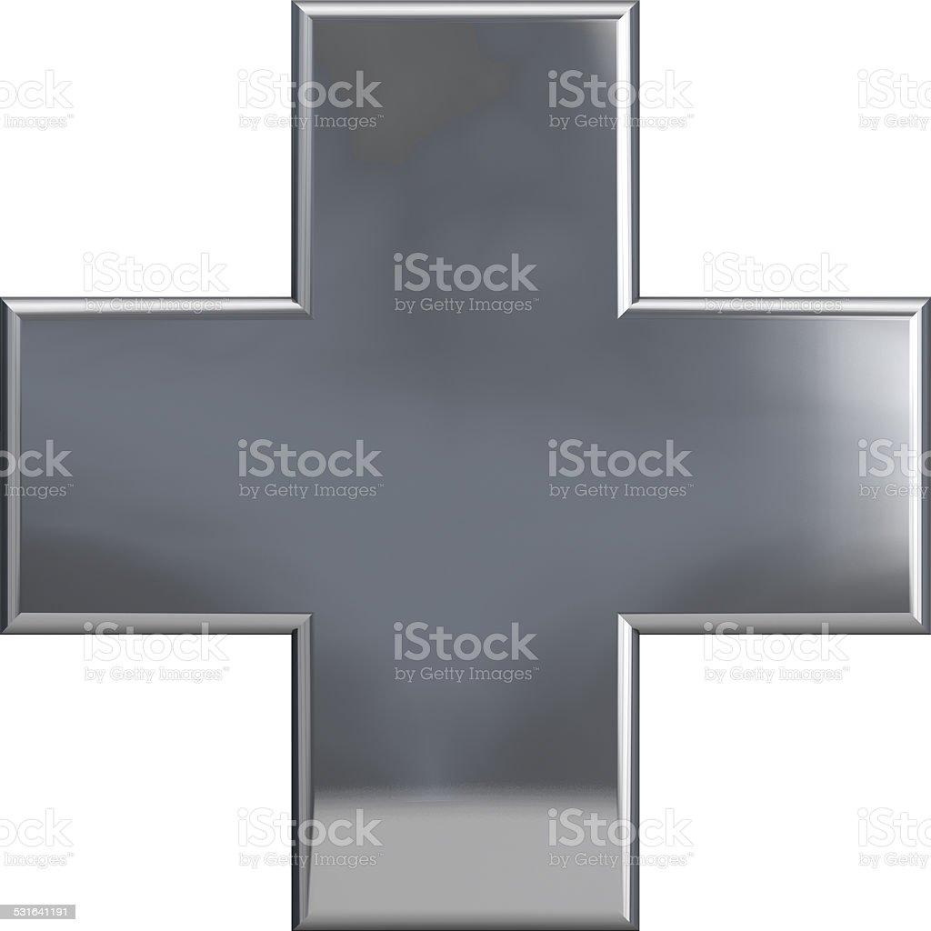 Metallic Cross Plus Symbol stock photo