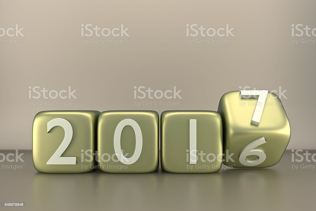 metallic cubes with 2016-2017 change stock photo