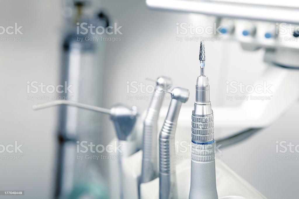 Metallic dentist tools close up stock photo