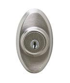 Metallic door lock isolated in white