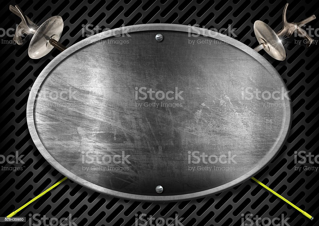 Metallic Empty Sign for Fencing Sport stock photo