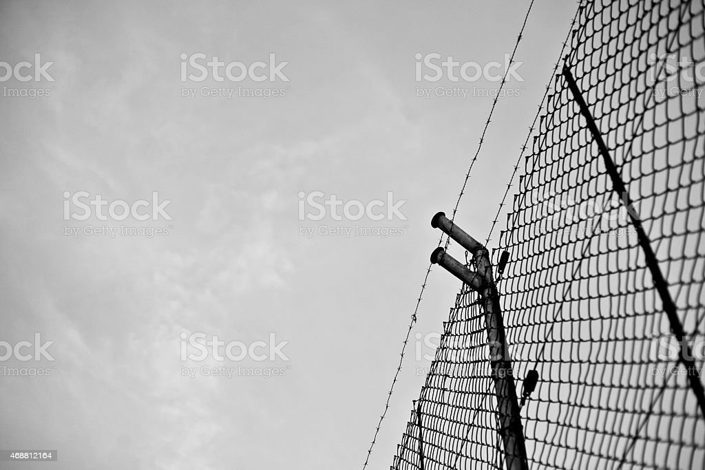 Metallic fence stock photo