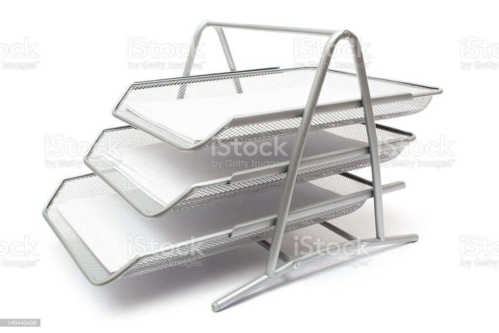 Metallic filing tray on white background stock photo