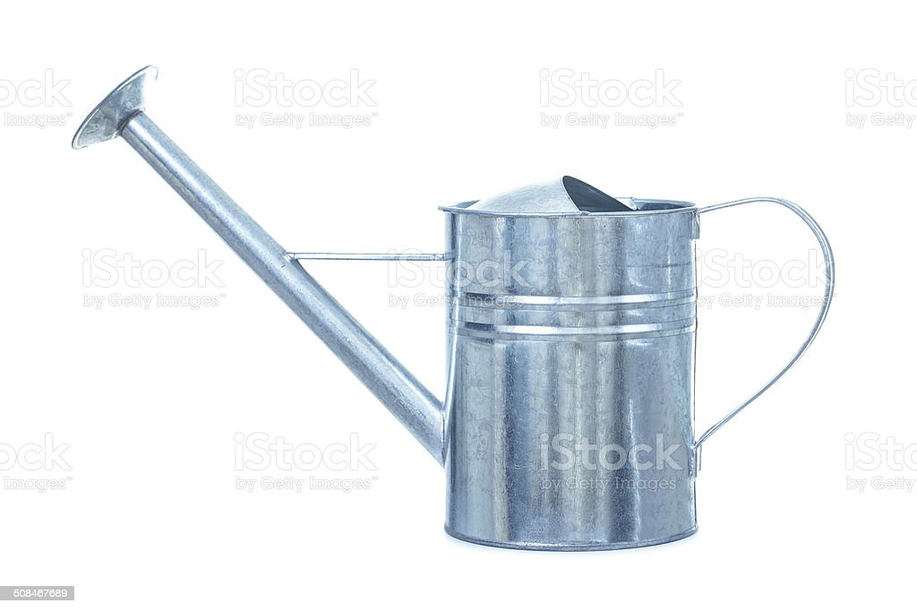 metallic galvanized watering can isolated on white background stock photo