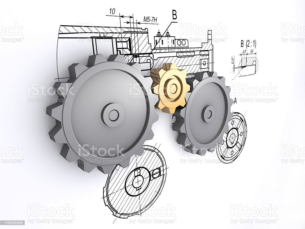 metallic gears against a background of engineering drawings stock photo