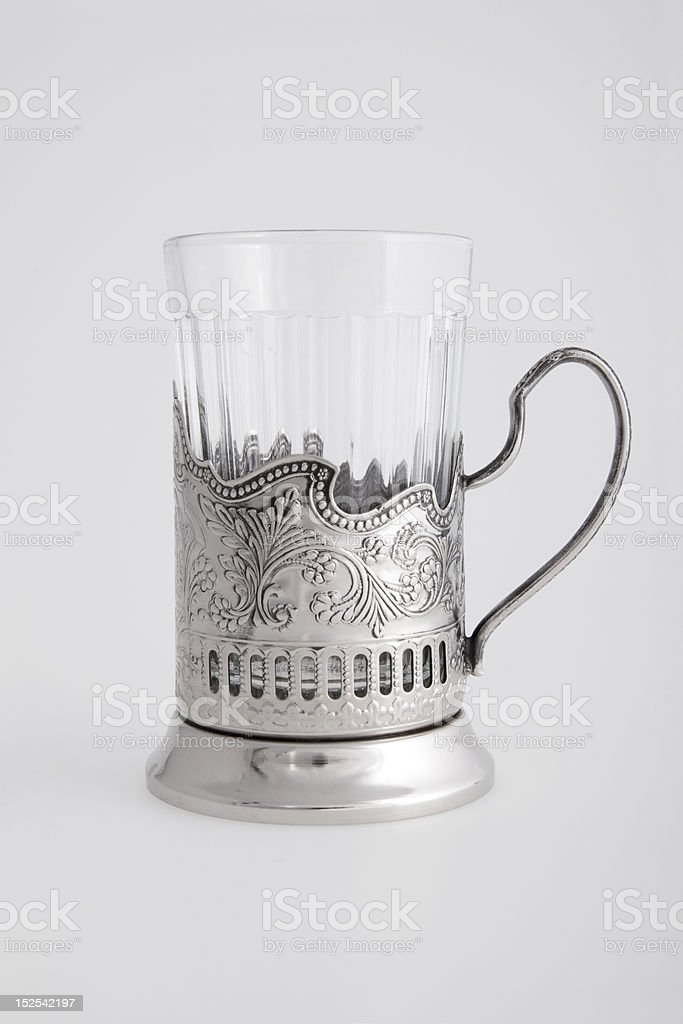 Metallic glass-holder one royalty-free stock photo