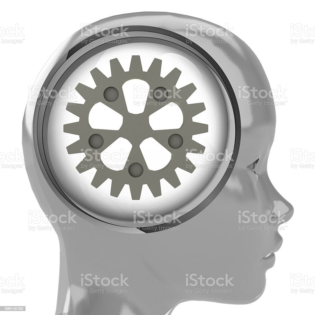 metallic human head with brain cloud with cogwheel inside stock photo