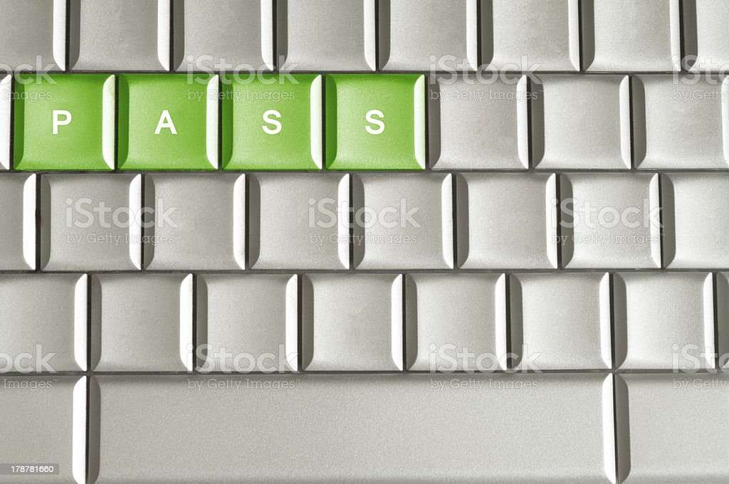 Metallic keyboard with the word PASS royalty-free stock photo