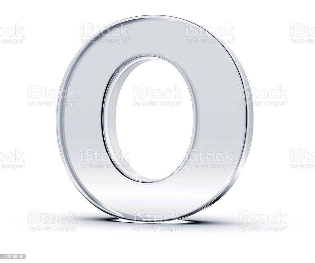 A metallic letter O standing upward royalty-free stock photo