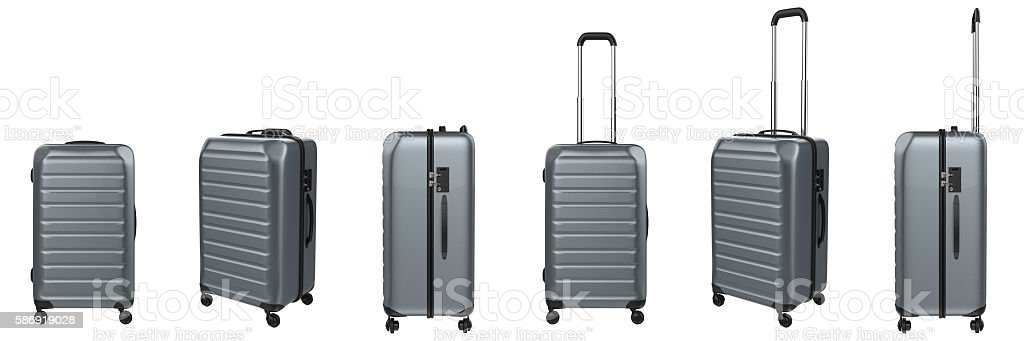 metallic luggages in a row stock photo