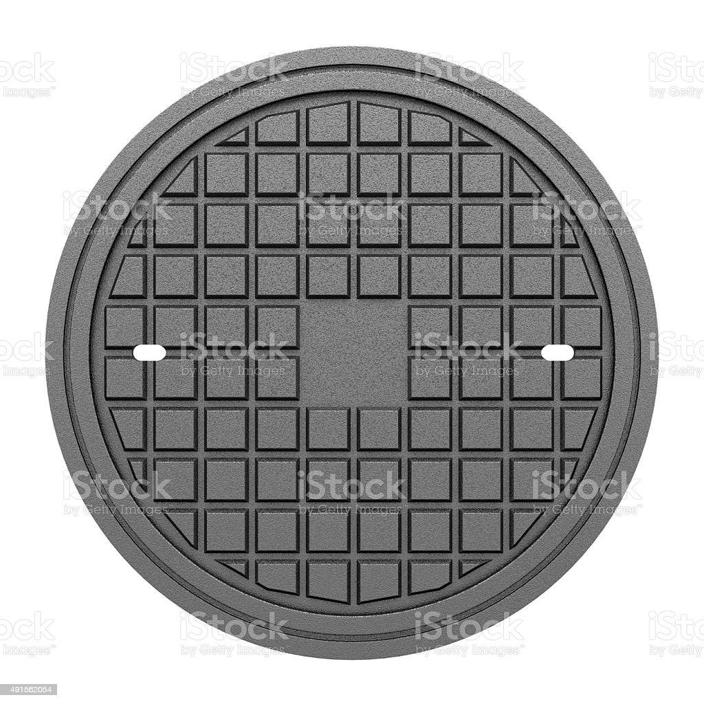 metallic manhole cover isolated on white background stock photo