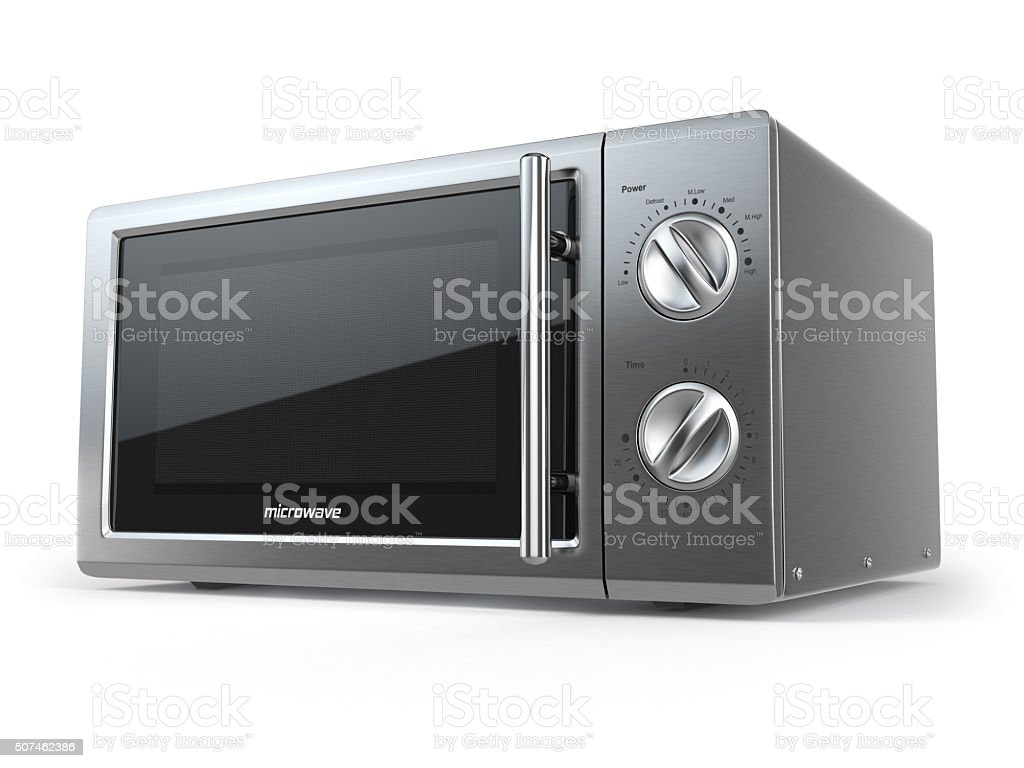 Metallic microwave oven isolated on white background. stock photo
