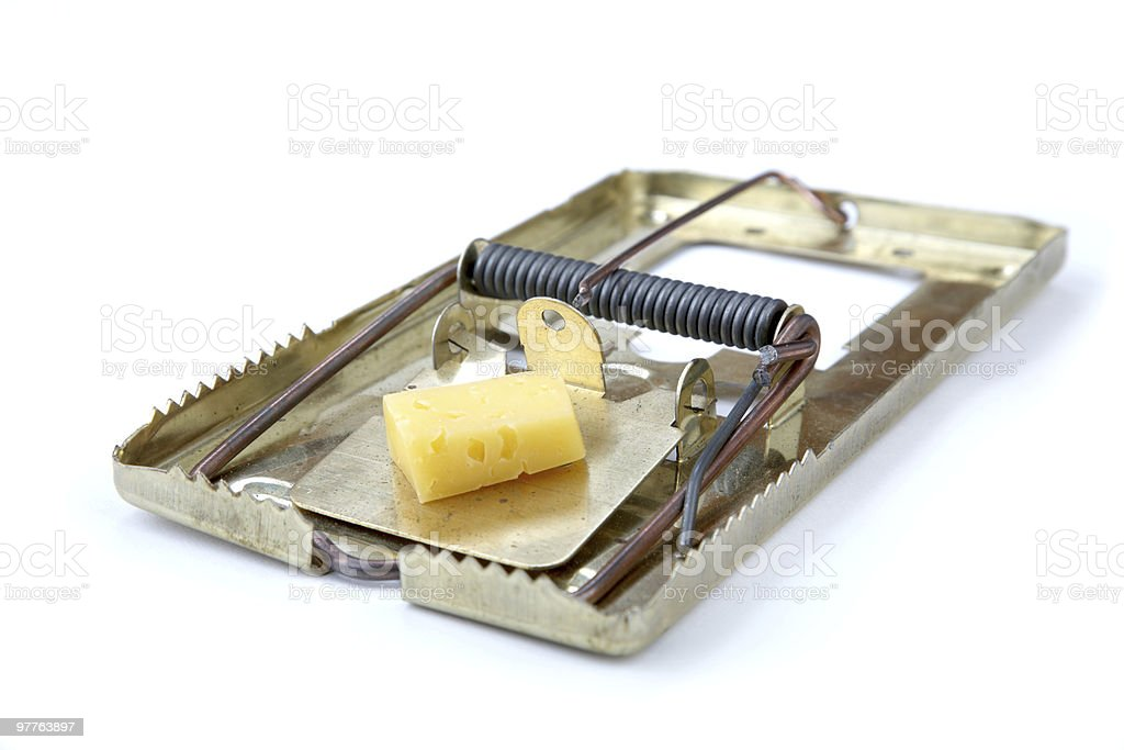 metallic mousetrap with cheese stock photo