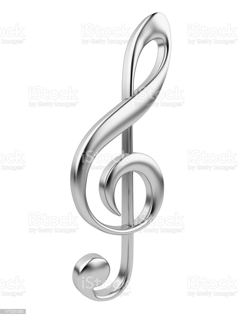 Metallic music note 3D. Isolated royalty-free stock photo