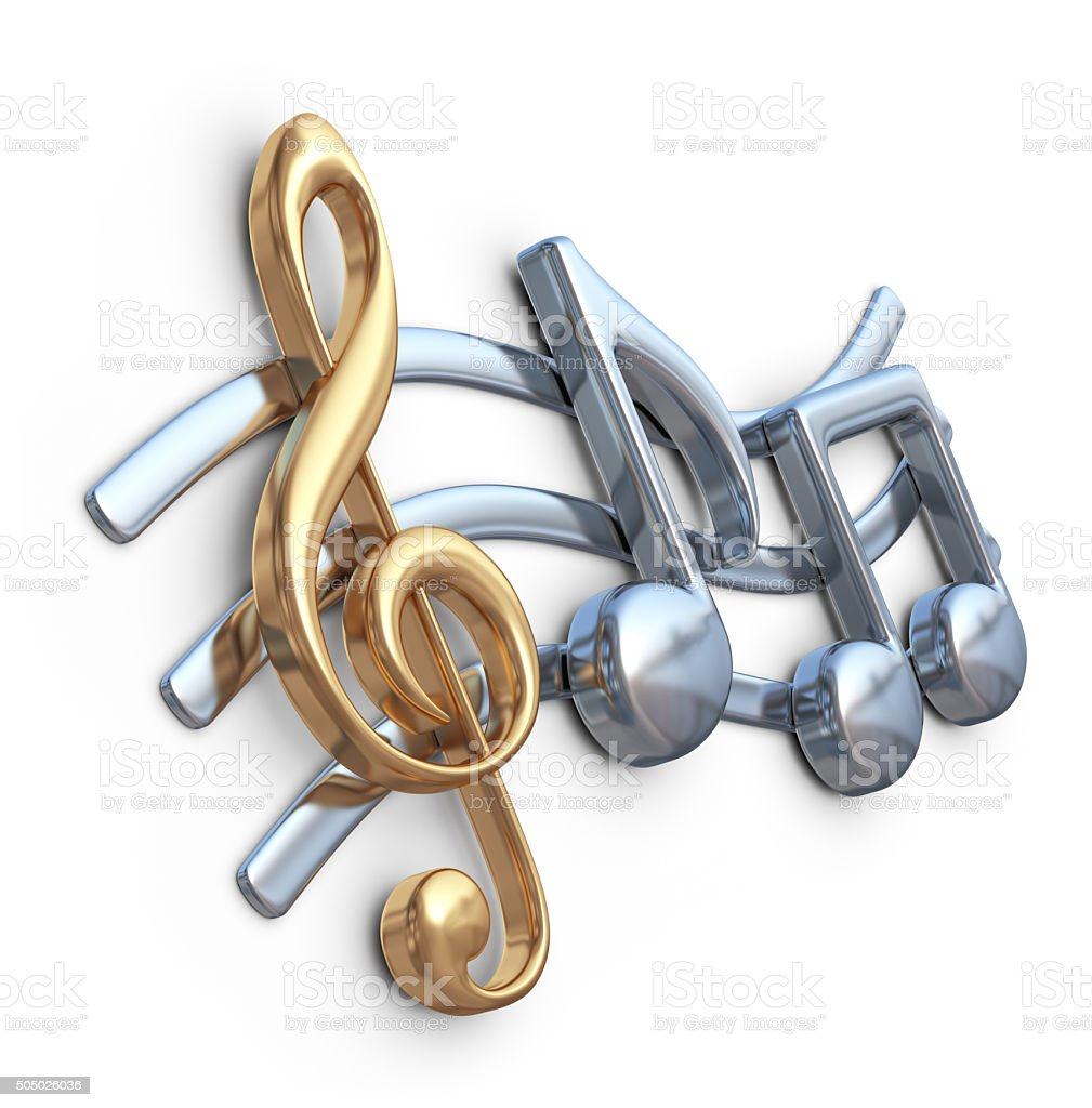 Metallic music note 3D. Music composition. Isolated stock photo
