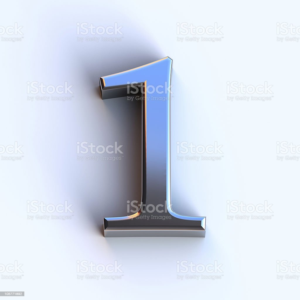 Metallic Number 1 stock photo