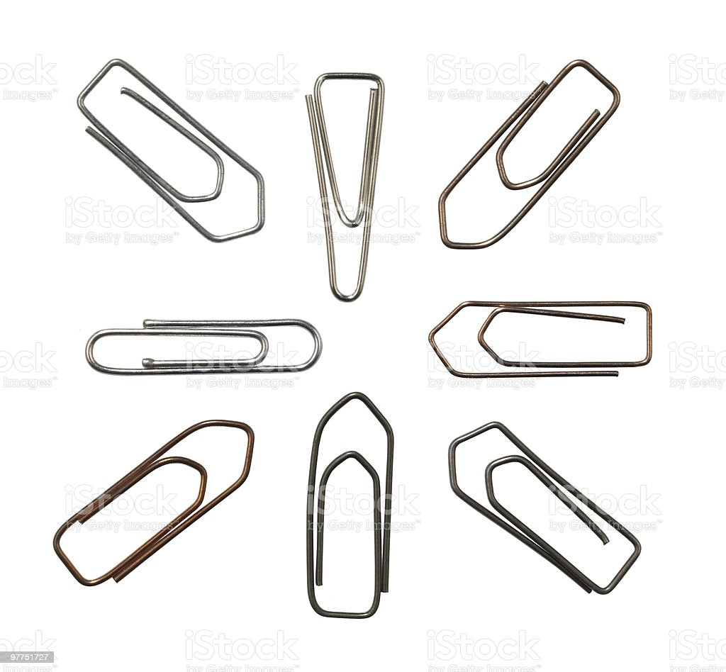 metallic paper clips variation royalty-free stock photo
