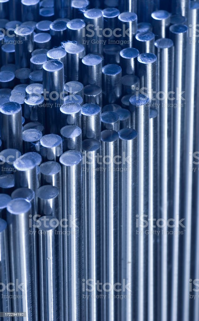 Metallic pipes with different heights royalty-free stock photo