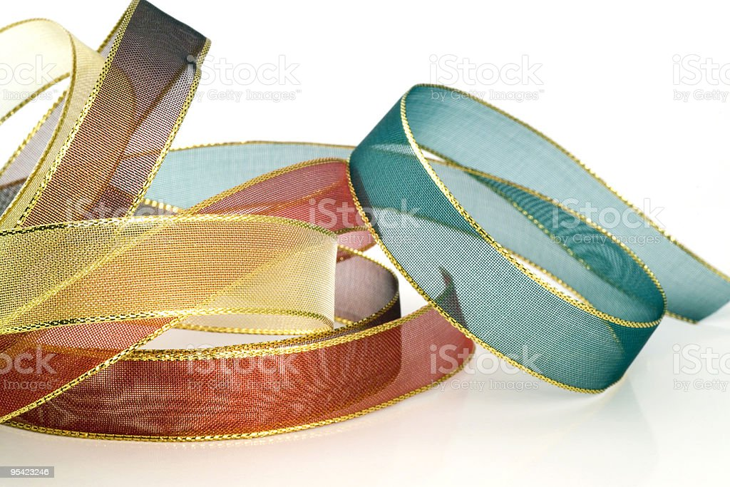 Metallic ribbon for wrapping presents royalty-free stock photo