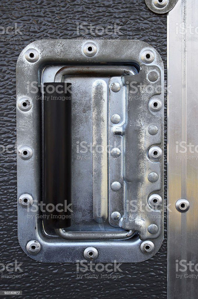 Metallic rivets of a road case stock photo