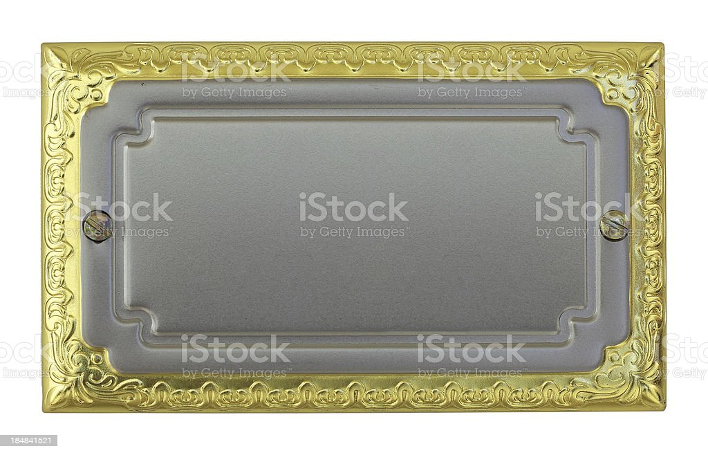 Metallic sign plate stock photo
