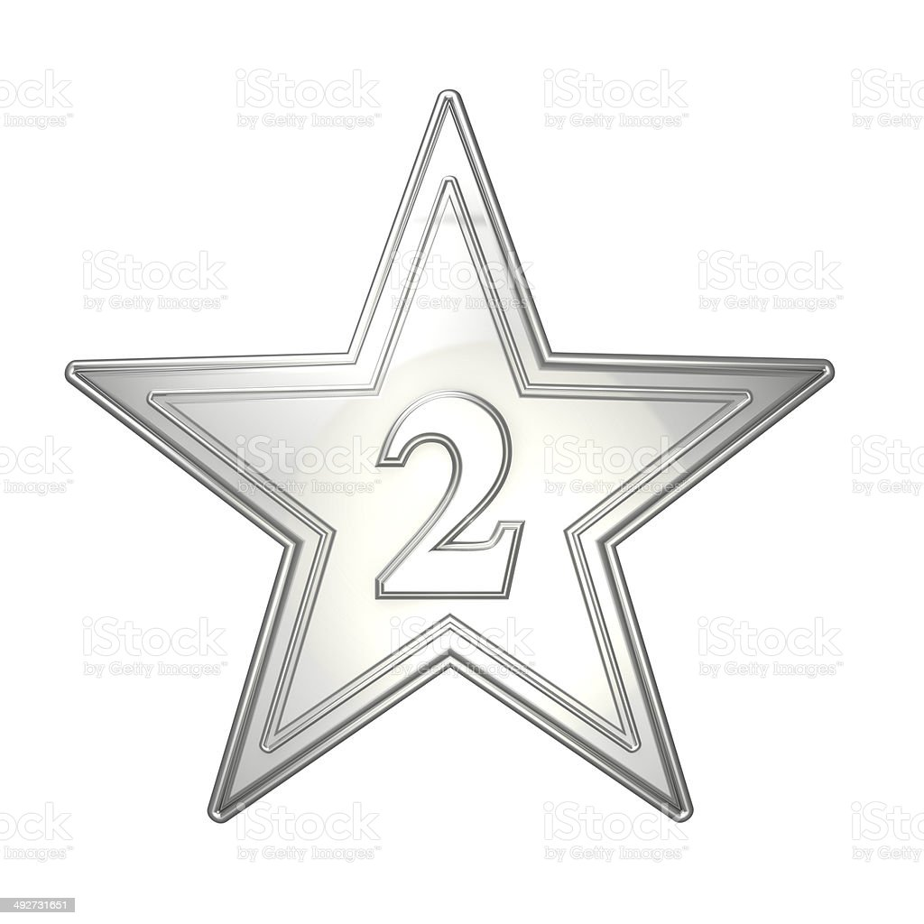 Metallic Silver Star Second Place Number 2 royalty-free stock photo