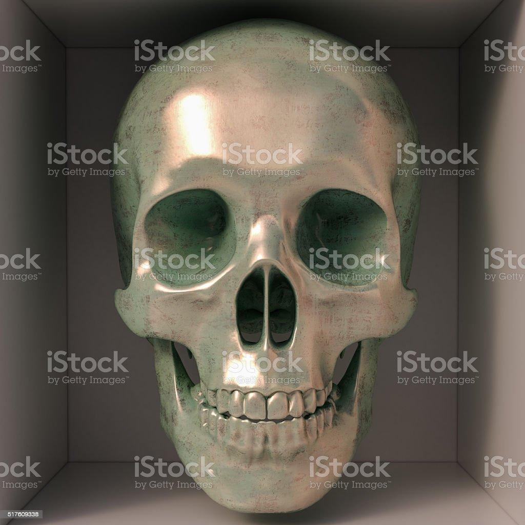 Metallic skull stock photo