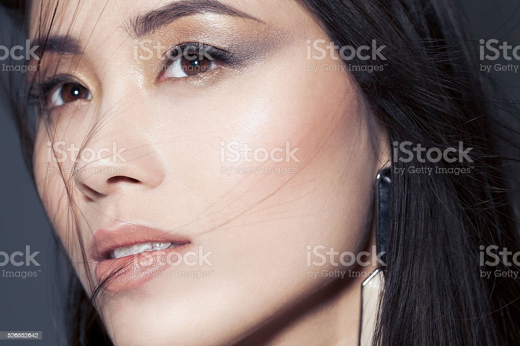 Metallic Smoky Eyes Makeup stock photo