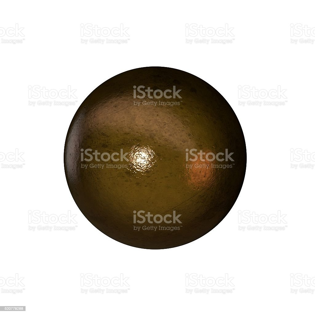 Metallic sphere isolated on white background. stock photo